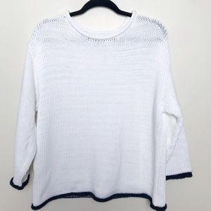 Lou & Grey Knit Boxy White Sweater